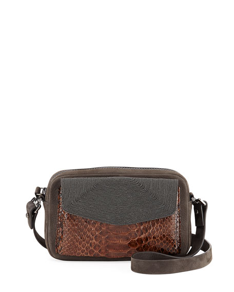 Brunello Cucinelli Leather & Snakeskin Pouch Crossbody Bag