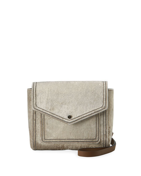 Brunello Cucinelli Velvet City Crossbody Bag with Monili