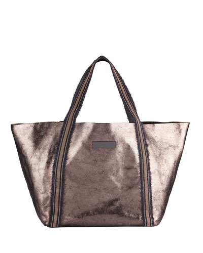 Metallic Leather Monili-Handle Tote Bag