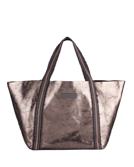 Metallic Leather Monili-Handle Tote Bag