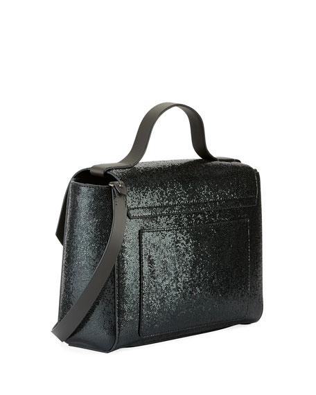 Broken Glass-Effect Top Handle Satchel Bag