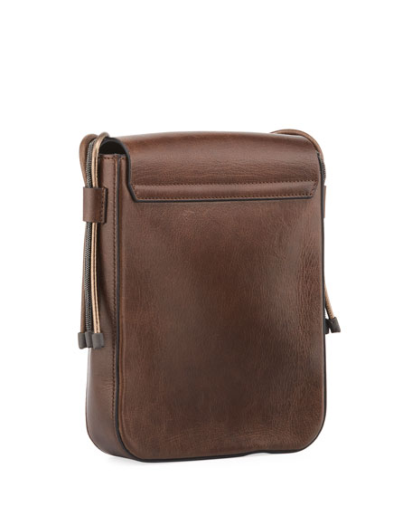Goatskin Leather Crossbody Messenger Bag