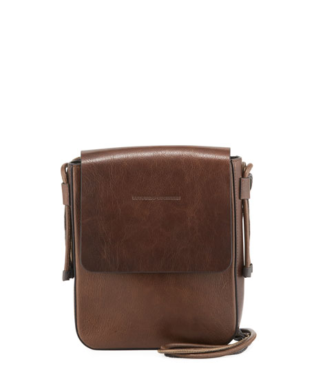 Goatskin Leather Crossbody Messenger Bag