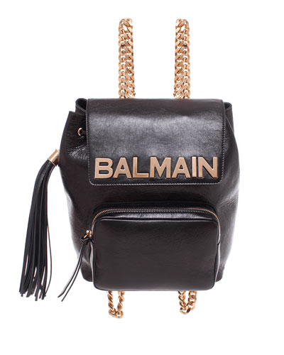 Balmain Leather Chain Backpack
