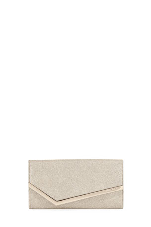 Jimmy Choo Emmie Dusty Glitter Clutch Bag