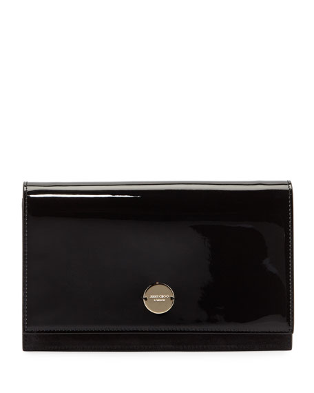 Florence Patent Leather & Suede Clutch - Black