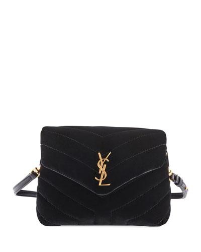 Loulou Monogram YSL Toy Quilted Velvet Shoulder Bag