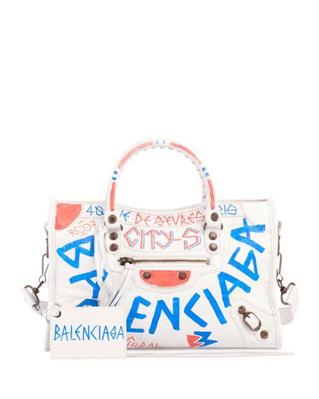 Balenciaga Classic City AJ Small Graffiti Satchel Bag