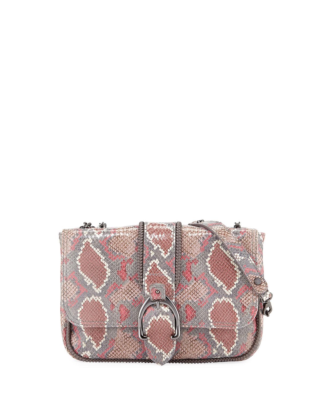 Amazon Python Mini Crossbody Bag, Blush
