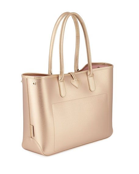 Roseau Metallic Leather Shoulder Tote Bag