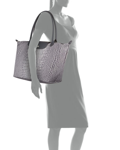Le Pliage Croco Large Shoulder Tote Bag