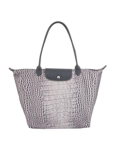 Le Pliage Croco Shoulder Tote Bag