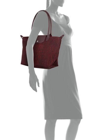 Le Pliage Medium Croco Shoulder Tote Bag