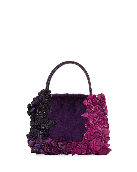 Wallis Flora Mini Fur & Croc Top-Handle Bag