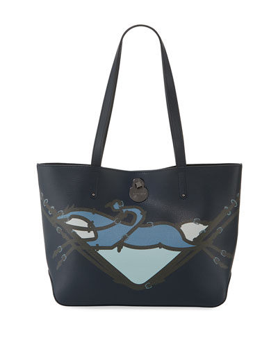 Shop-It Small Leather Shoulder Tote Bag