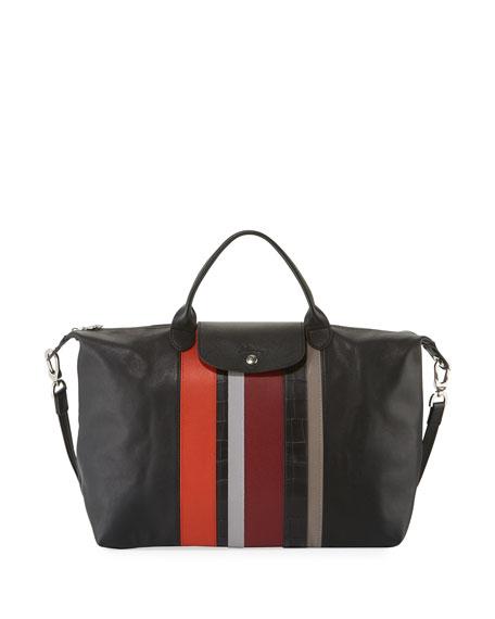 Longchamp Parisis Multi-Stripe Leather Large Tote Bag