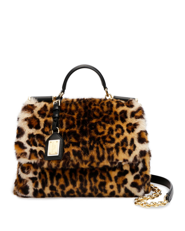 Dolce   Gabbana Sicily Medium Leo Pellicciotto Faux-Fur Satchel Bag ... 0a9aac6b9b799
