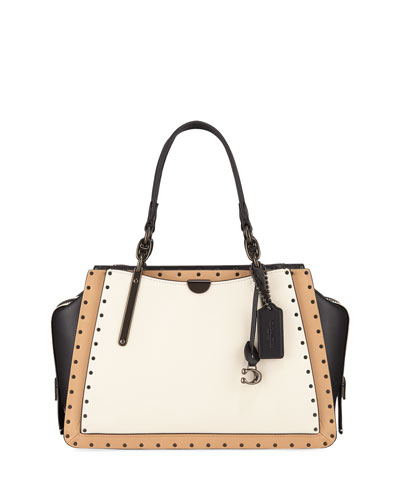 Dreamer Colorblock Border Rivets Satchel Bag