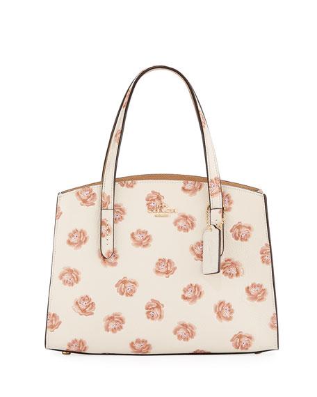 Coach Charlie 28 Rose-Print Carryall Shoulder Bag