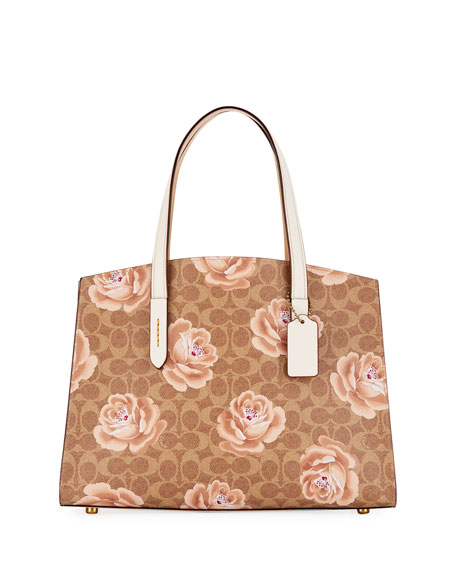 Coach Charlie Coated Signature Canvas Carryall Shoulder Bag