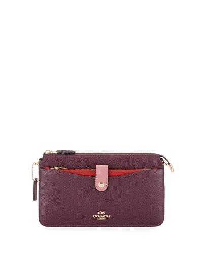 Colorblock Pop-Up Pebbled Leather Crossbody Messenger Bag
