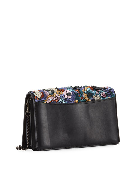 Leather Sequined Fold-Over Chain Clutch Bag