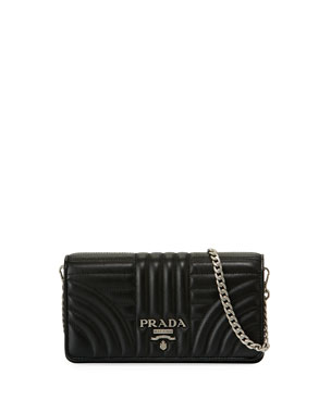 Prada Diagramme Mini Impunture Quilted Leather Crossbody Wallet Bag. Prada  Wallets Keychains Bag Charms At Neiman Marcus f7b7aa0f96dde