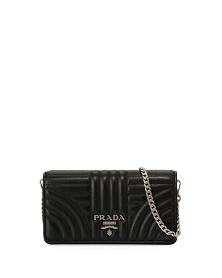 Prada Diagramme Mini Impunture Quilted Leather Crossbody Wallet