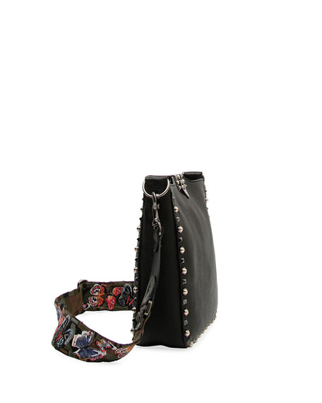 Rockstud Rolling Noir Guitar Small Messenger Hobo Bag