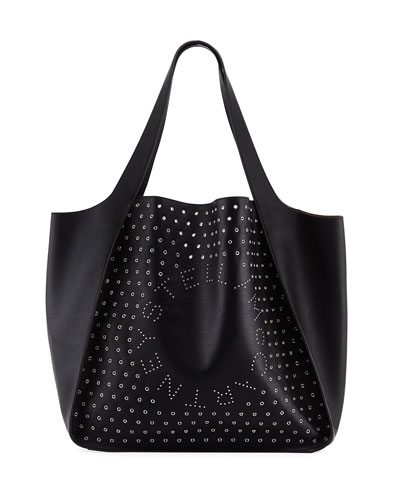 Large Logo Tote Bag with Eyelets and Studs