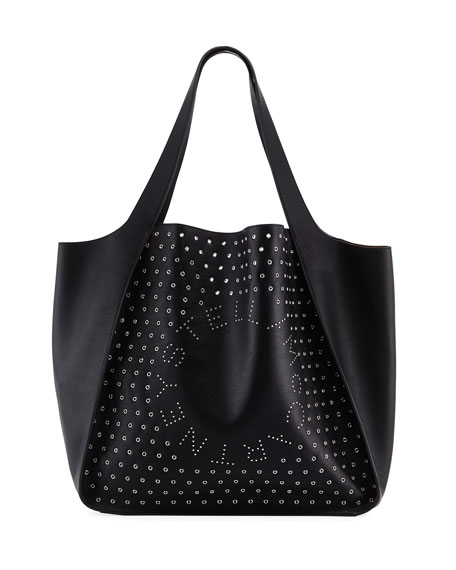 Large Logo Tote Bag With Eyelets And Studs, Black