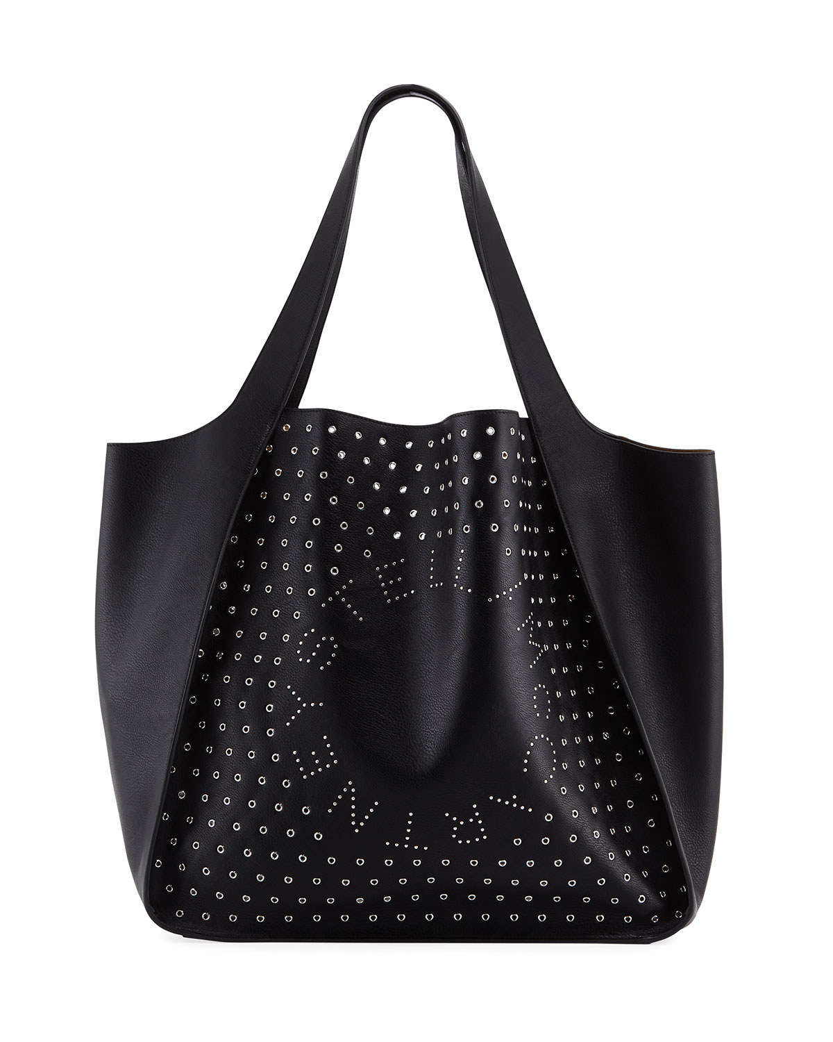 23e0b71a99 Stella McCartney Large Logo Tote Bag with Eyelets and Studs