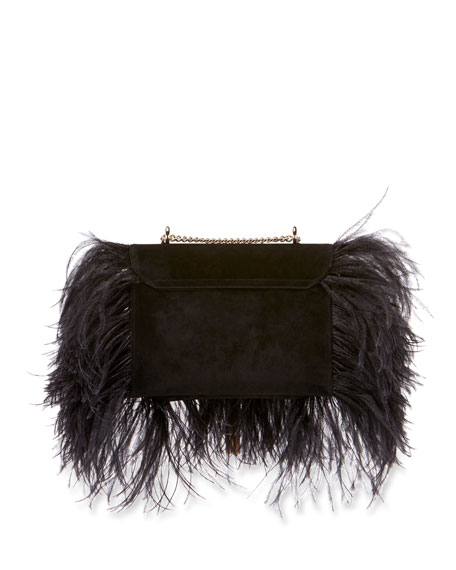 Club Chain Feathers Evening Clutch Bag