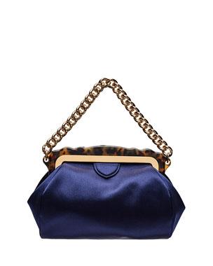 ed2bd1d5e72d Edie Parker Aliza Framed Satin Chain-Handle Clutch Bag