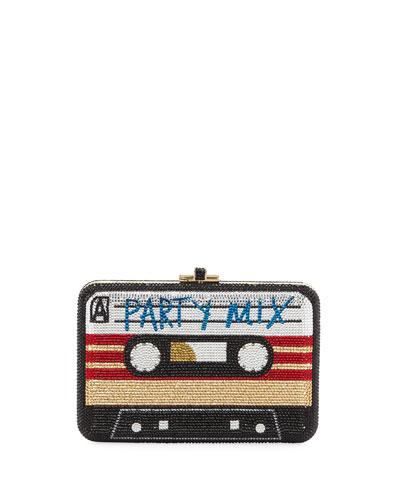 Party Mix Tape Slim Slide-Lock Crystal Clutch Bag