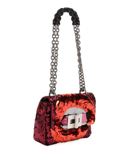 Natalia Large Soft Maxy Lip Sequin Shoulder Bag