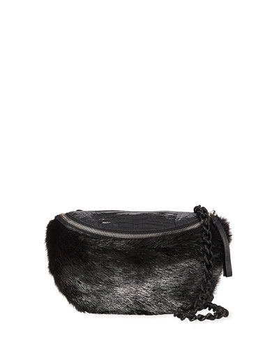 Crocodile and Fur Belt Bag/Fanny Pack