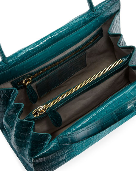 Wallis Mini Ombre Crocodile Top Handle Bag