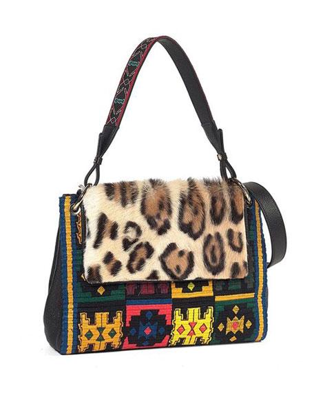 Leopard-Print Fur-Flap Embroidered Shoulder Bag
