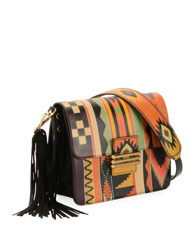 Rainbow Western Printed Leather Shoulder Bag