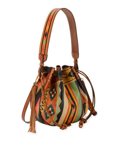 Southwestern-Print  Leather Bubble Bag