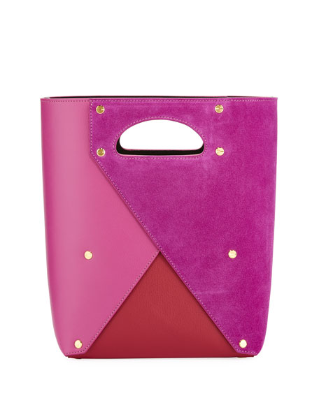 YUZEFI LIMITED Pablo Colorblock Leather/Suede Tote Bag in Purple