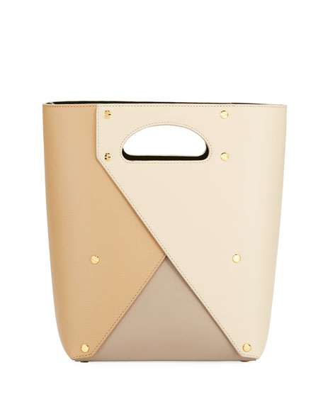 YUZEFI LIMITED Pablo Colorblock Leather Tote Bag in Beige