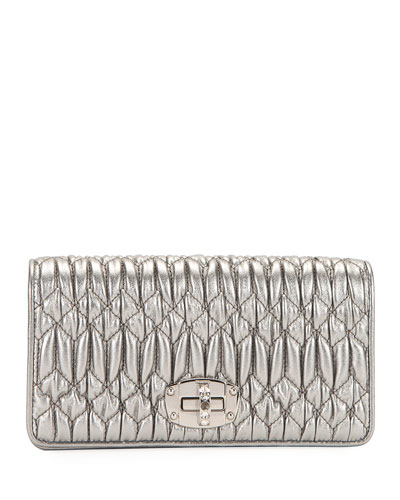 Napa Leather Wallet on a Crossbody Chain with Crystal Clasp