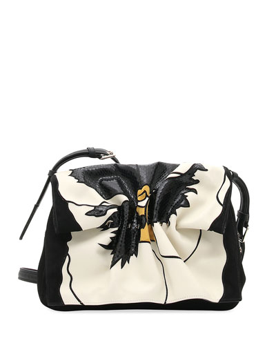 Bloomy Floral Lamb Leather & Snakeskin Shoulder Bag