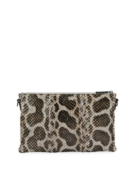 Anaconda Snakeskin and Leather Crossbody Bag
