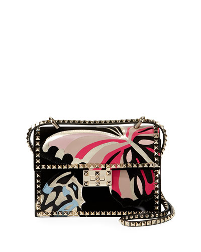 Rockstud No Limit Butterfly Velvet Shoulder Bag