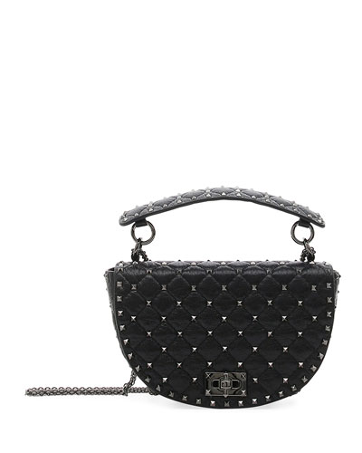 Rockstud Spike Agnello Leather Saddle Bag