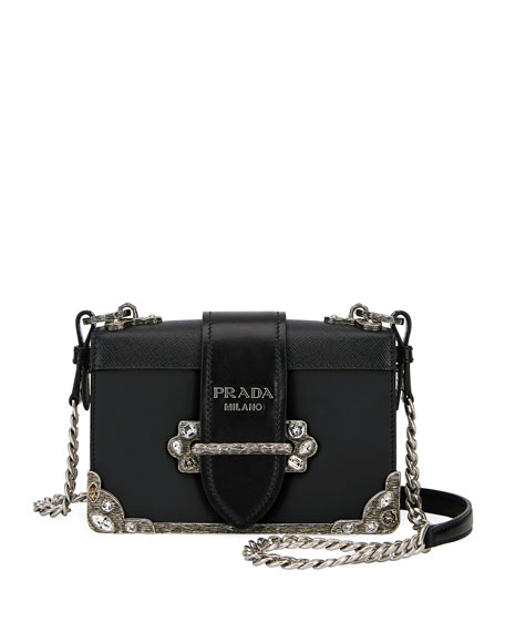 Prada Embroidered Small Cahier Crossbody Bag