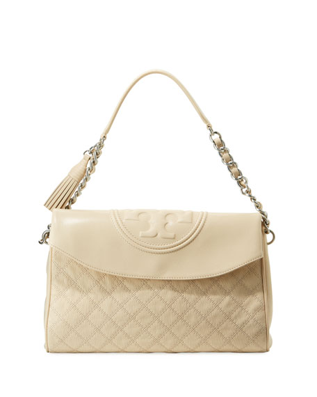Tory Burch Fleming Distressed Leather Hobo Bag | Neiman Marcus
